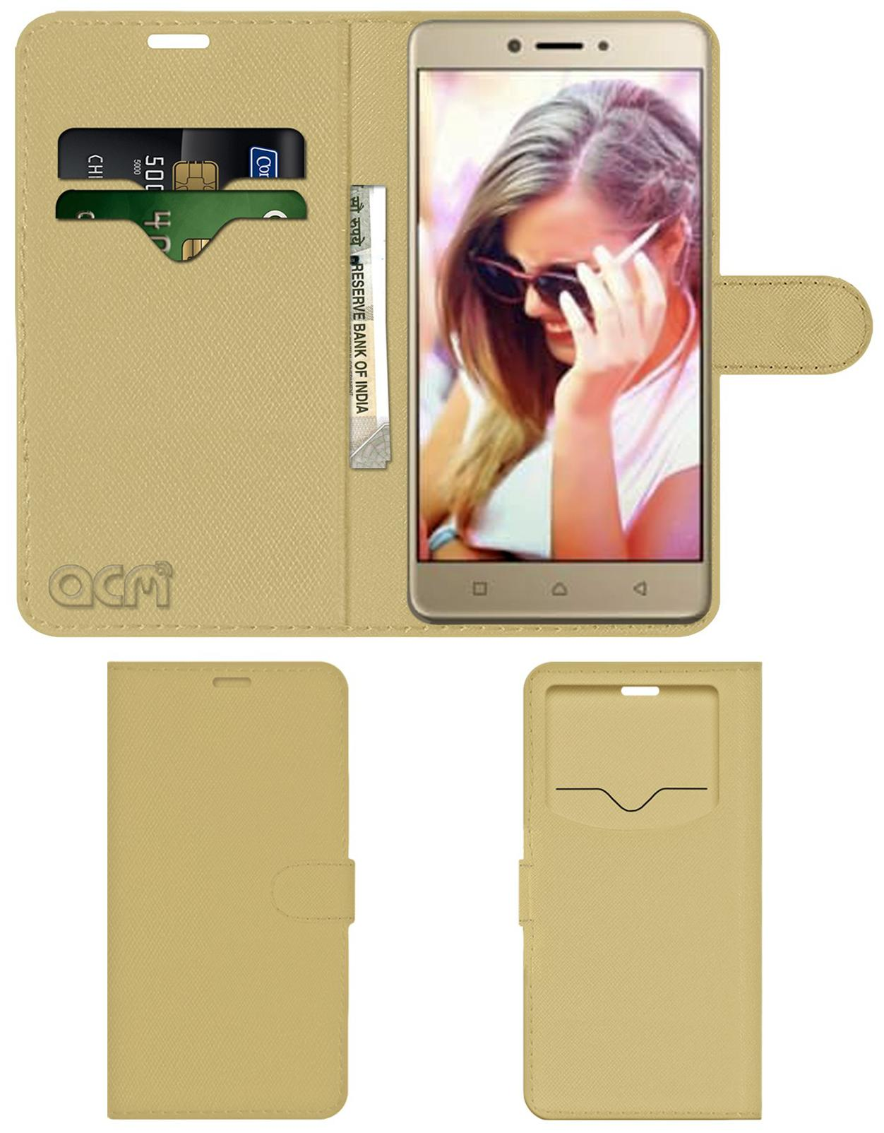 ACM Flip Cover For Lenovo K8 Note  Golden  by Accessories Masters