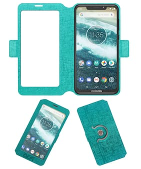 ACM Artificial Leather Flip Cover For Moto One Power ( Turquoise )