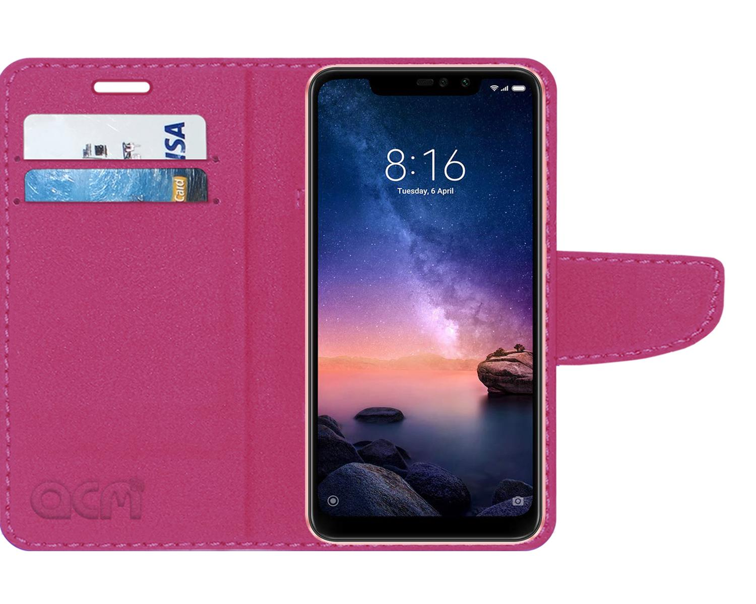ACM Faux Leather Flip Cover For Xiaomi Redmi Note 6 Pro   Pink   by Accessories Masters