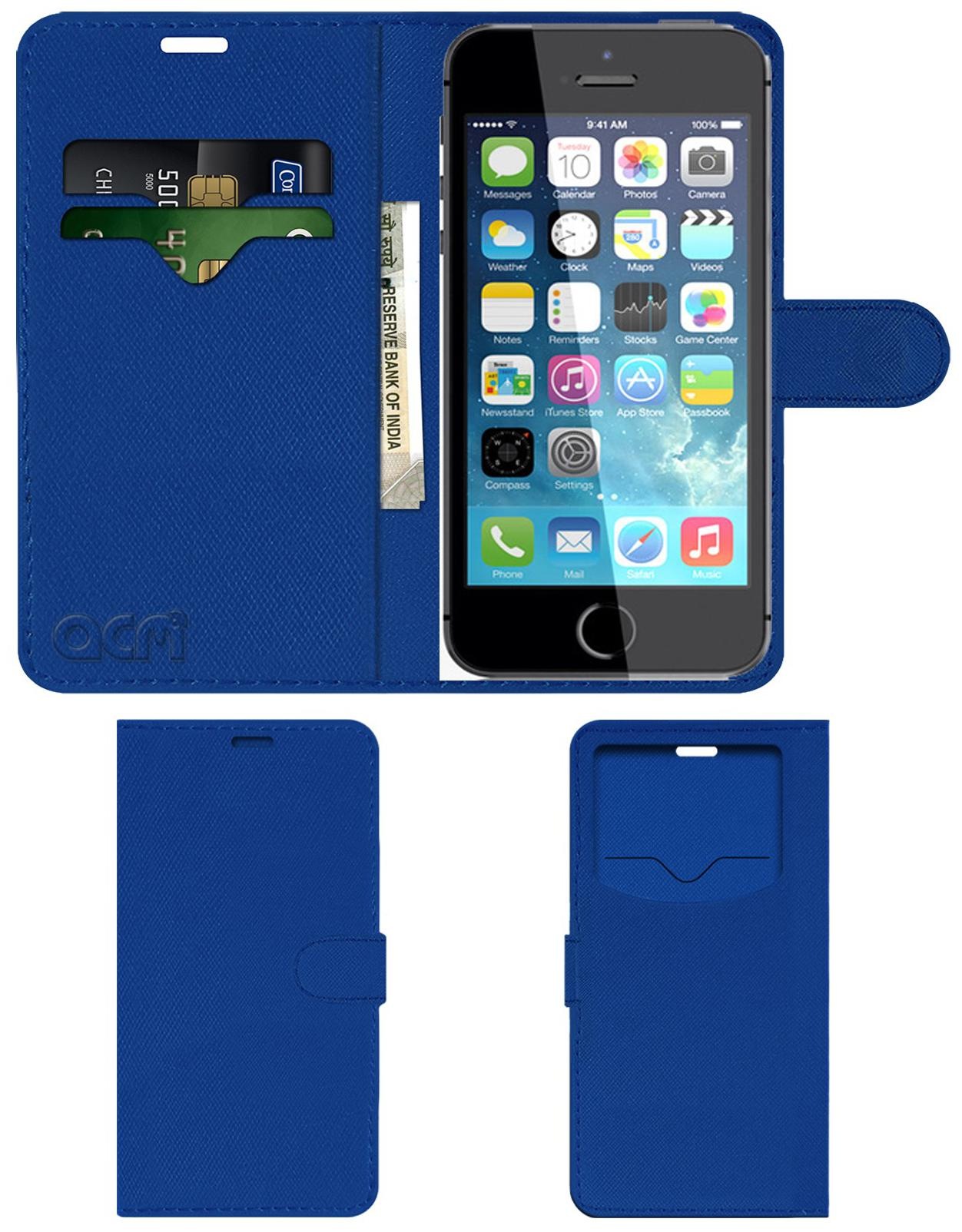 ACM Faux Leather Flip Cover For Apple iPhone 5s   Blue   by Accessories Masters