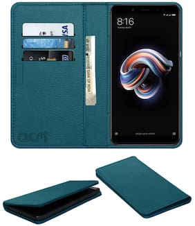 Acm Rich Leather Flip Wallet Front & Back Case for Mi Redmi Note 5 Pro Mobile Flap Magnetic Cover Turquosie