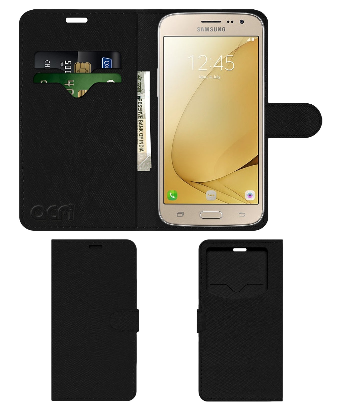 ACM Flip Cover For Samsung Galaxy J2   2016  Black  by Accessories Masters