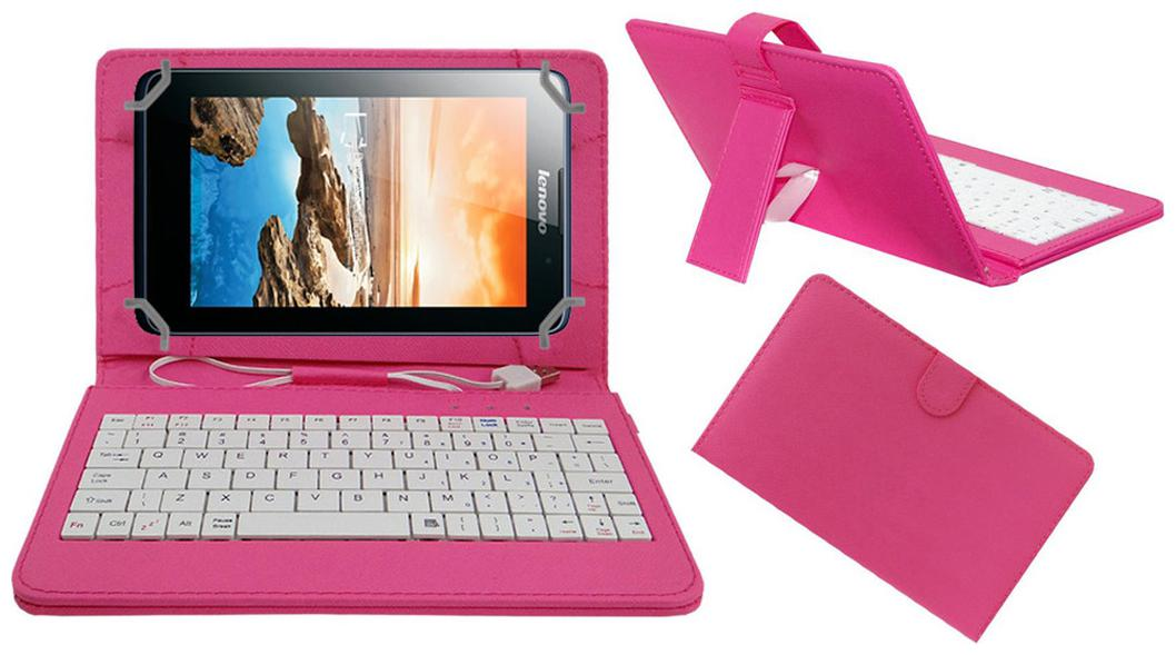Acm Keyboard Case For Lenovo A7 50 A3500  Pink  With Free OTG Cabel by Accessories Masters