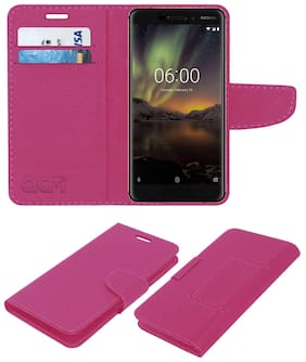 Acm Leather Flip Wallet Case for Nokia 6.1 (2018) Mobile Cover Pink