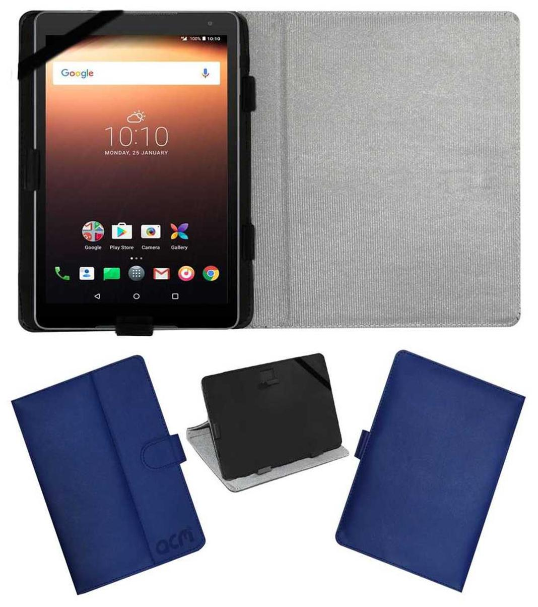 Acm Leather Flip Flap Case for Alcatel A3 10 Tablet Cover Stand Blue by Accessories Masters