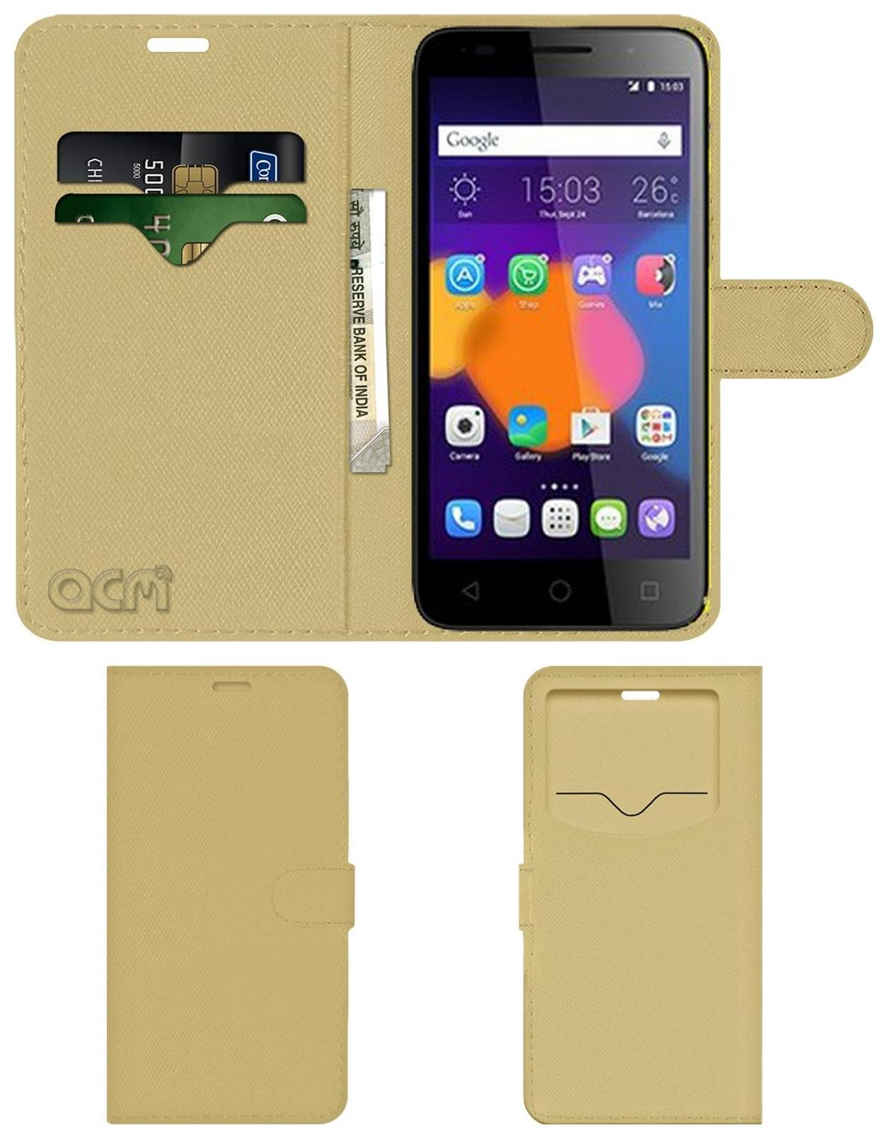 Acm Leather Window Flip Wallet Front   Back Case for Alcatel Pixi 3  5  Mobile Cover Golden by Accessories Masters