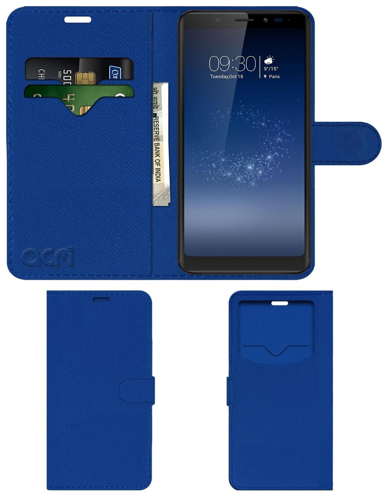 Acm Leather Window Flip Wallet Front   Back Case for Micromax Canvas Infinity Mobile Cover Blue by Accessories Masters