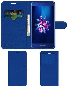 Acm Leather Window Flip Wallet Front & Back Case for Honor 9 Lite Mobile Cover Blue