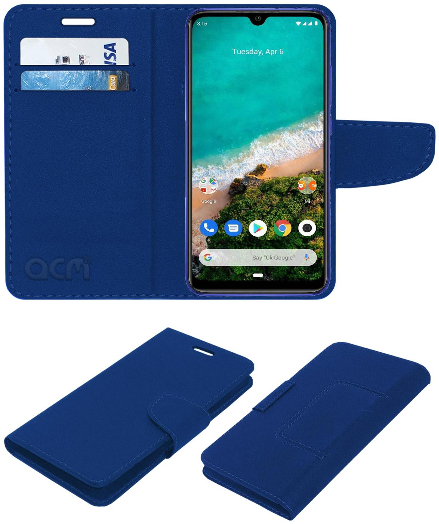 Acm Leather Flip Wallet Front   Back Case for Mi A3 Mobile Cover Blue by Accessories Masters