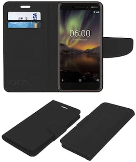 Acm Leather Flip Wallet Case for Nokia 6.1 Mobile Cover Black