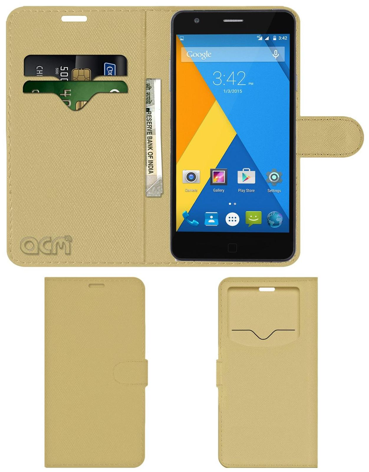 Acm Leather Window Flip Wallet Front   Back Case for Micromax Yu Yuphoria Yu5010 Mobile Cover Golden by Accessories Masters