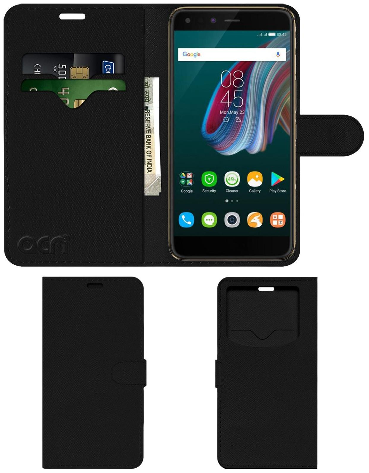 Acm Leather Window Flip Wallet Front   Back Case for Infinix Zero5 Pro Mobile Cover Black by Accessories Masters