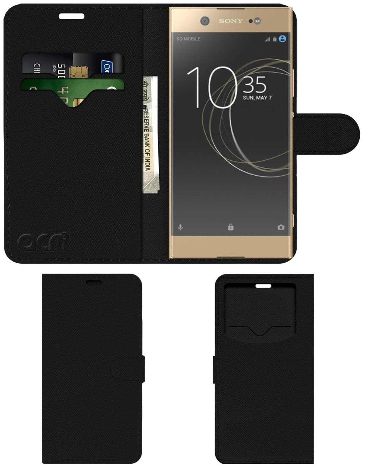 Acm Leather Window Flip Wallet Front   Back Case for Sony Xperia Xa1 Ultra Dual Sim Mobile Cover Black by Accessories Masters
