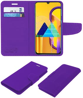 Acm Leather Flip Wallet Front & Back Case for Samsung Galaxy M30s Mobile Cover Purple