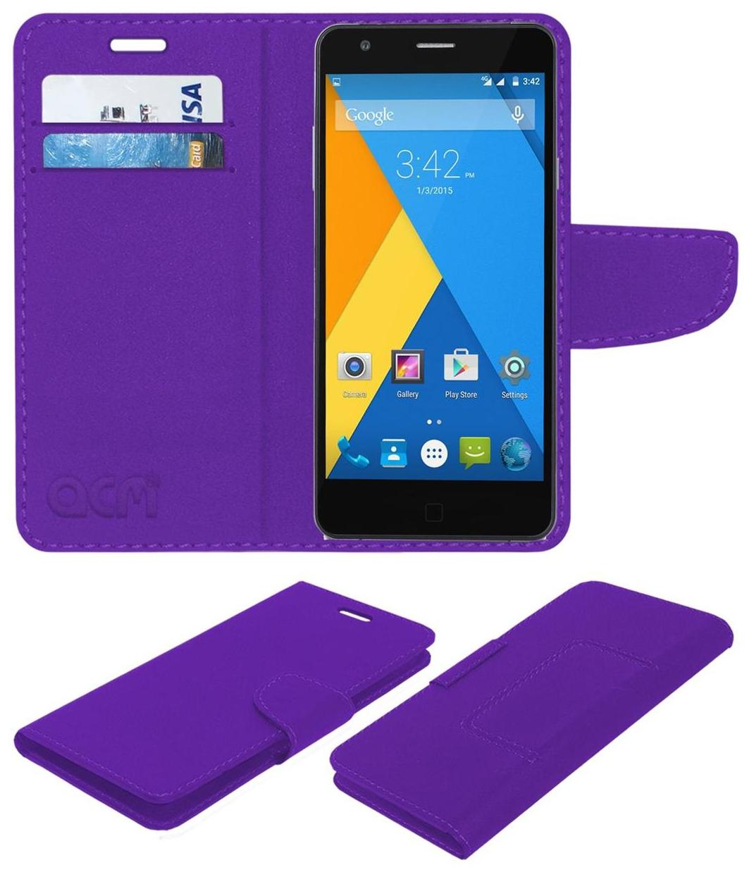 Acm Mobile Leather Flip Flap Wallet Case for Micromax Yu Yuphoria Yu5010 Mobile Cover Purple by Accessories Masters