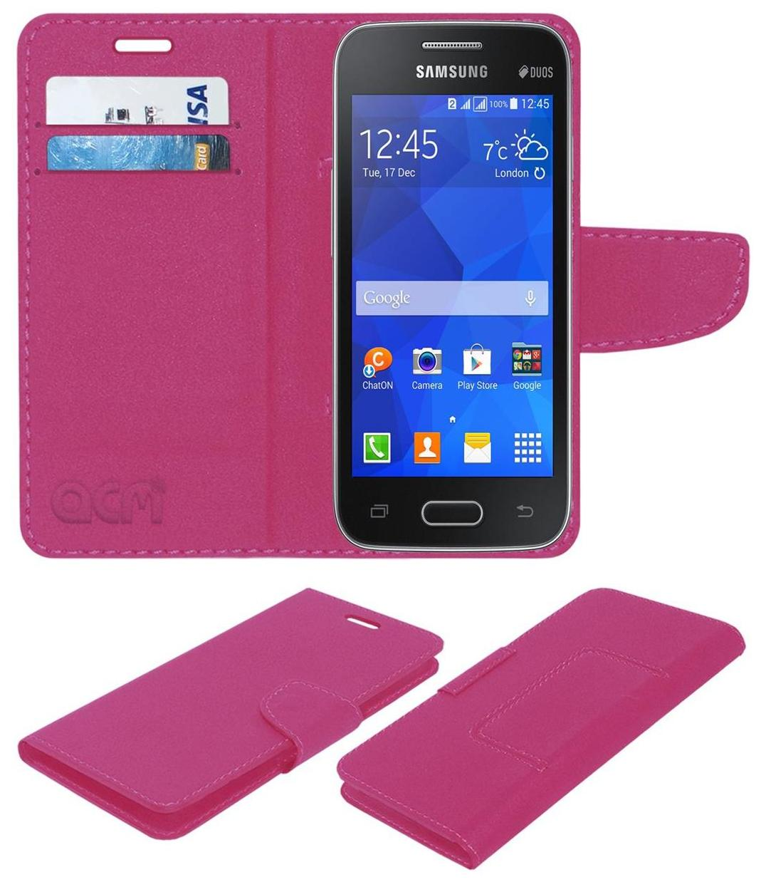 Acm Mobile Leather Flip Flap Wallet Case for Samsung Galaxy Ace Nxt Sm G313h Mobile Cover Pink by Accessories Masters