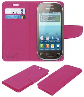 Acm Mobile Leather Flip Flap Wallet Case for Samsung Rex 90 S5292 Mobile Cover Pink