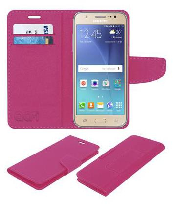 Acm Mobile Leather Flip Flap Wallet Case for Samsung Galaxy J7 2015 Mobile Cover Pink by Accessories Masters