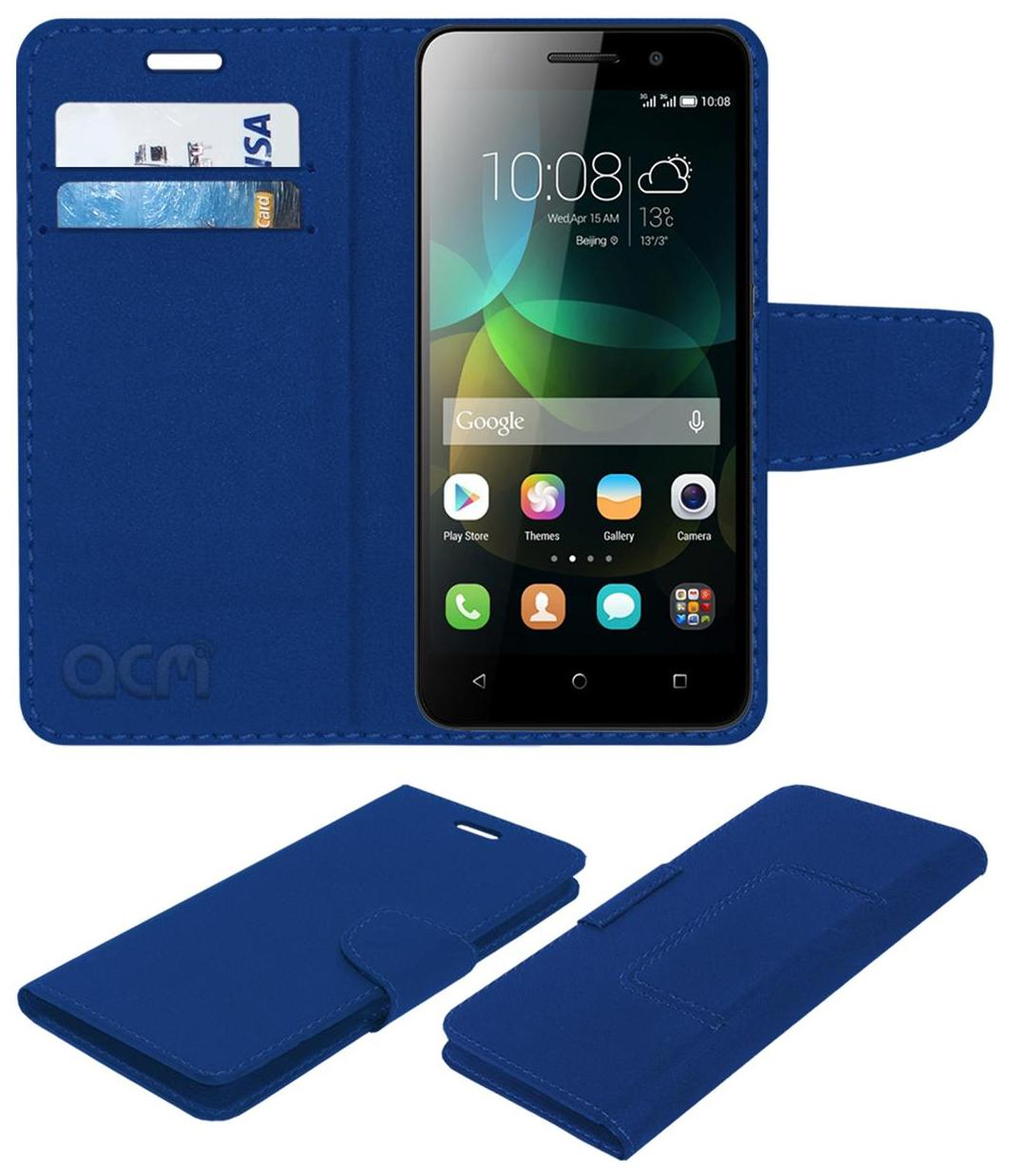 Acm Mobile Leather Flip Flap Wallet Case for Huawei Honor 4c Mobile Cover Blue by Accessories Masters