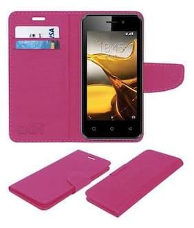 Acm Mobile Leather Flip Flap Wallet Case for Jivi Energy E12 Mobile Cover Pink