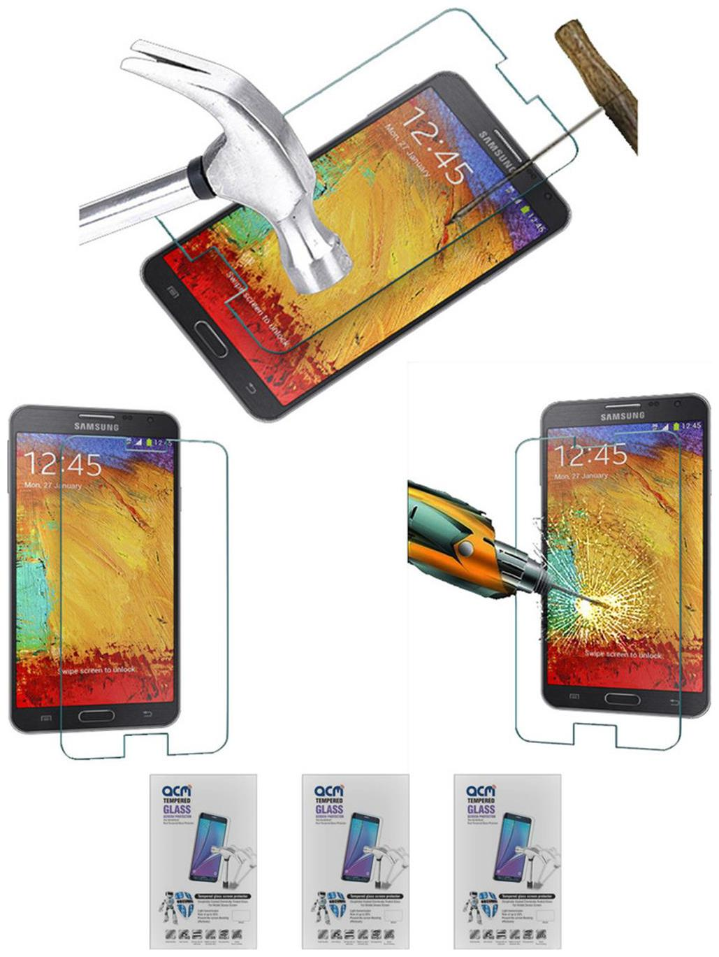 Acm Pack Of 3 Tempered Glass Screenguard For Samsung Galaxy Note 3 N9000 Mobile Screen Guard Scratch Protector