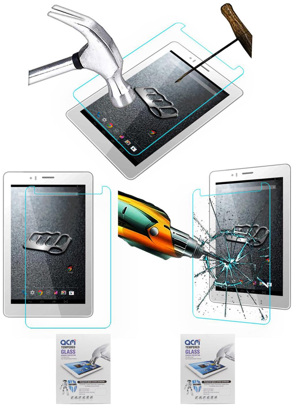 Acm Pack Of 2 Tempered Glass Screenguard For Micromax Canvas Tab P470 Tablet Screen Guard Scratch Protector