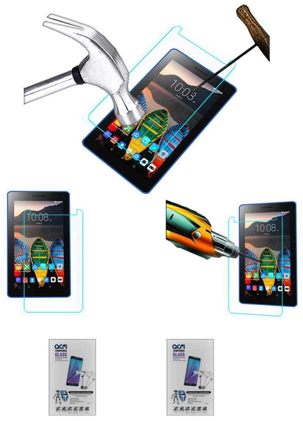 Acm Pack of 2 Tempered Glass Screenguard for Lenovo Tab3 8 Screen Guard Scratch Protector