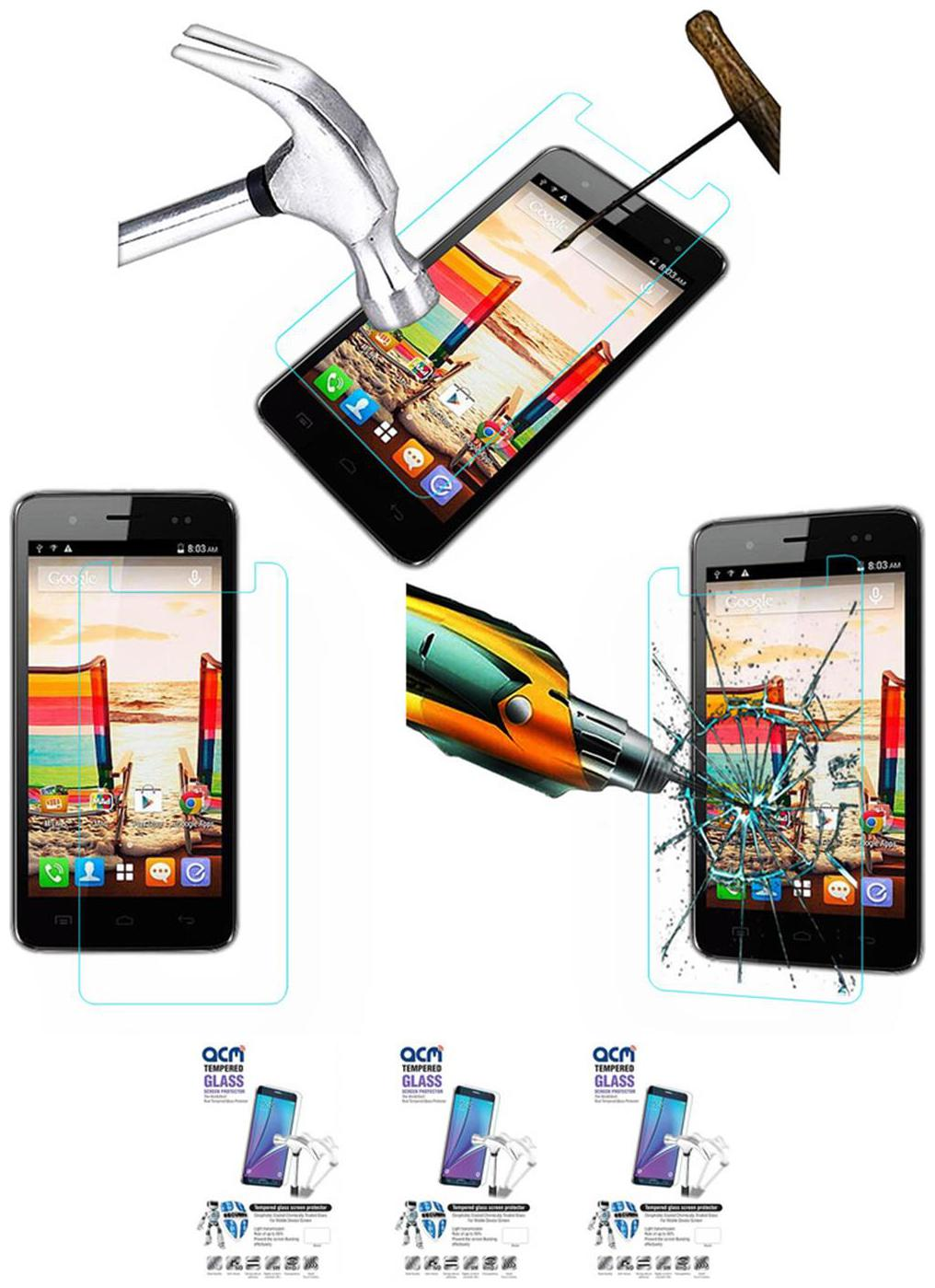 Acm Pack Of 3 Tempered Glass Screenguard For Micromax Bolt A069 Mobile Screen Guard Scratch Protector