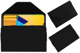 Acm Premium Flip Flap Pouch Case for Samsung Galaxy M30s Mobile Leather Cover Black