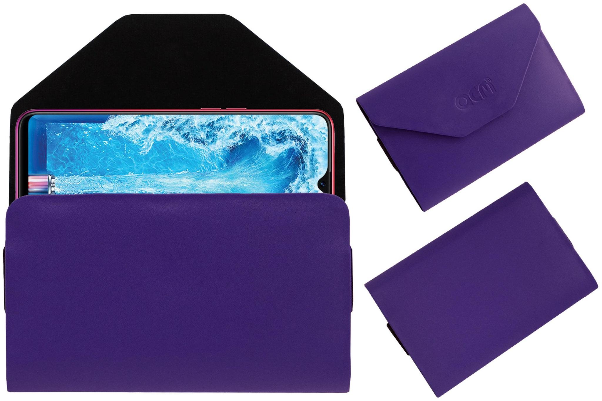 Acm Premium Flip Flap Pouch Case for Oppo F9 Pro Cph1823 Mobile Leather Cover Purple