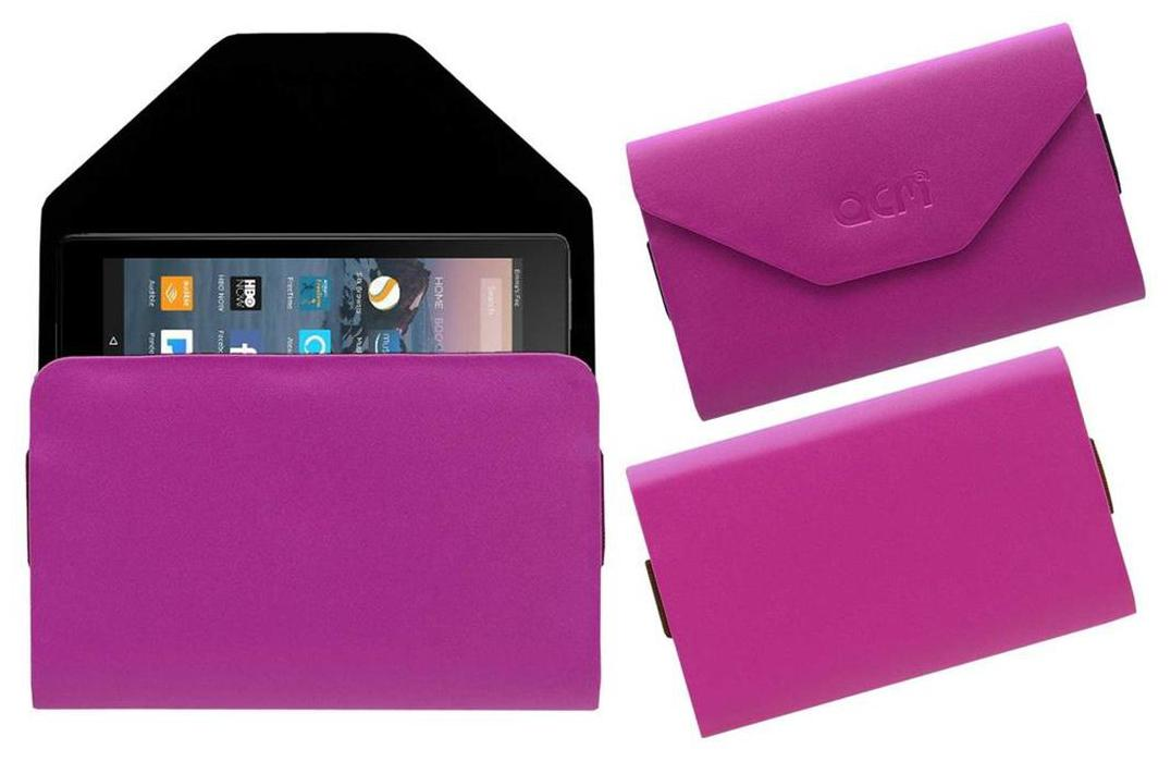 Acm Premium Pouch Case for Amazon Fire Tablet 7  Tablet Flip Flap Cover Pink by Accessories Masters