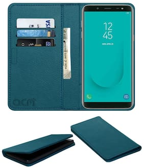 Acm Rich Leather Flip Wallet Front & Back Case for Samsung Galaxy J6 Infinity Mobile Flap Magnetic Cover Turquosie