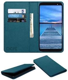 Acm Rich Leather Flip Wallet Front & Back Case for Yu Ace Mobile Flap Magnetic Cover Turquosie