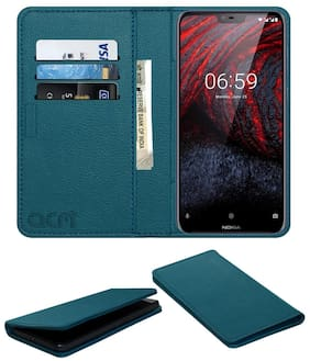 Acm Rich Leather Flip Wallet Front & Back Case for Nokia 6.1 Plus Mobile Flap Magnetic Cover Turquosie