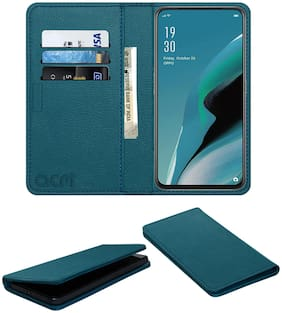 Acm Rich Leather Flip Wallet Front & Back Case for Oppo Reno 2 F Mobile Flap Magnetic Cover Turquoise