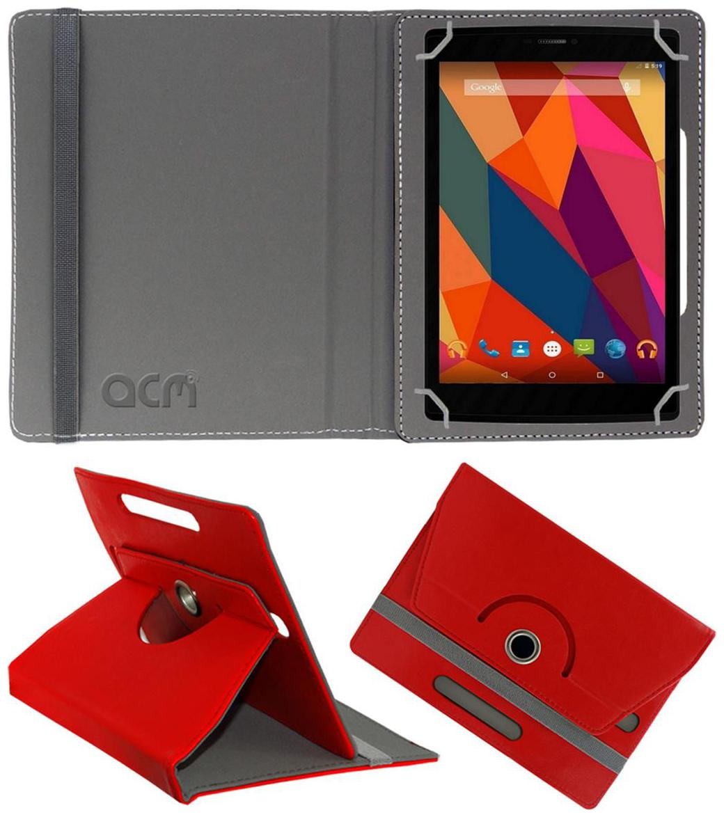 Acm Rotating Leather Flip Case For Micromax Canvas Tab P681 Tablet Cover Stand Red