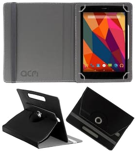Acm Rotating Leather Flip Case For Micromax Canvas Tab P681 Tablet Cover Stand Black