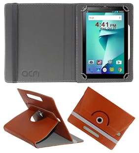 Acm Rotating Leather Flip Case for Ikall N6 Tablet Cover Stand Brown