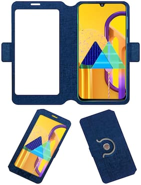 Acm SVIEW Window Designer Rotating Flip Case for Samsung Galaxy M30s Mobile Smart View Cover Stand Blue