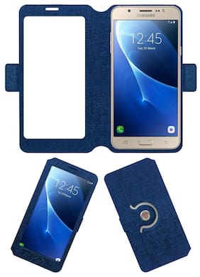 Acm SVIEW Window Designer Rotating Flip Flap Case for Samsung Galaxy J7 - 6 (2016) Mobile Smart View Cover Stand Blue