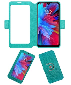 Acm SVIEW Window Designer Rotating Flip Case for Redmi Note 7s Mobile Smart View Cover Stand Turquoise