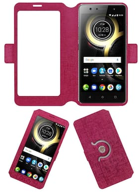 Acm SVIEW Window Designer Rotating Flip Flap Case for Lenovo K8 Plus Mobile Smart View Cover Stand Pink