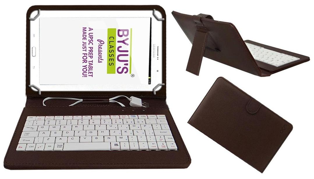 Acm Usb Keyboard Case for Byju Learning Tab 20.32 cm  8 inch  Tablet Cover Stand With Free Micro Usb Otg   Brown by Accessories Masters