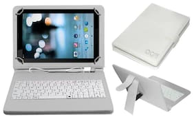 Acm Usb Keyboard Case for Ikall N7 Tablet Cover Stand With Free Micro Usb Otg - White