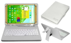 Acm Usb Keyboard Case for Ikall N1 (2+16gb) Tablet Cover Stand With Free Micro Usb Otg - White
