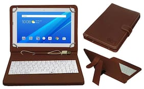 Acm Usb Keyboard Case for Lenovo Tab 4 10 Tablet Cover Stand With Free Micro Usb Otg - Brown
