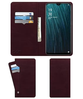Acm Wallet Leather Flip Carry Case for Oppo A5s Cph1909 Mobile Flap Card Holder Front & Back Cover Burgundy Red