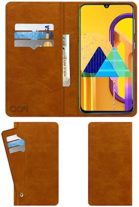 Acm Wallet Leather Flip Carry Case for Samsung Galaxy M30s Mobile Flap Card Holder Front & Back Cover Classic Golden