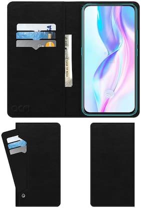 Acm Wallet Leather Flip Carry Case for Vivo V17 Pro Mobile Flap Card Holder Front & Back Cover Royal Black