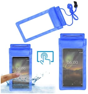 Acm Waterproof Bag Case for Nokia 6.1 (2018) Mobile (Rain,Dust,Snow & Water Resistant) Blue